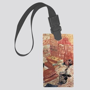 Van Gogh French Novels and Rose Large Luggage Tag