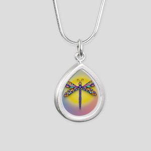 Dragonfly1 - Sun Silver Teardrop Necklace