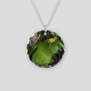 Yellow Nape Amazon Parrot Necklace Circle Charm