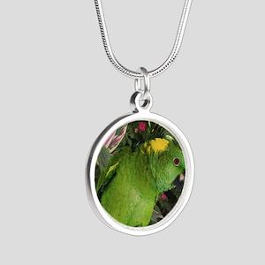 Yellow Nape Amazon Parrot Silver Round Necklace