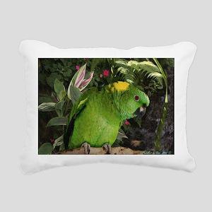 Yellow Nape Amazon Parro Rectangular Canvas Pillow