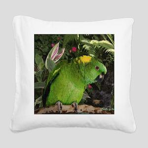 Yellow Nape Amazon Parrot Square Canvas Pillow