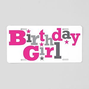 Pink Birthday Girl Star Aluminum License Plate