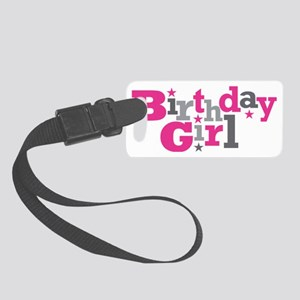 Pink Birthday Girl Star Small Luggage Tag