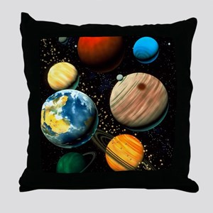 Computer artwork showing planets of s Throw Pillow