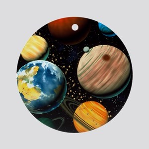 Computer artwork showing planets of Round Ornament