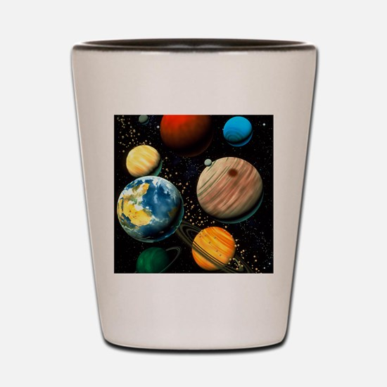 Computer artwork showing planets of sol Shot Glass