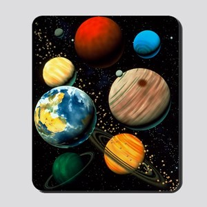 Computer artwork showing planets of sola Mousepad
