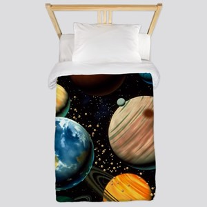 Computer artwork showing planets of sol Twin Duvet