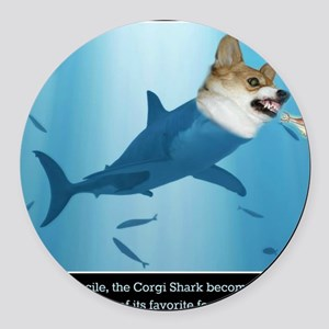 The Corgi Shark and the Bacon Fis Round Car Magnet