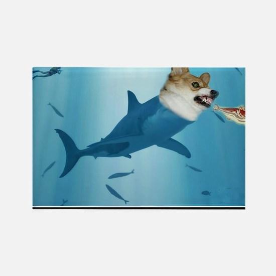 The Corgi Shark and the Bacon Fis Rectangle Magnet