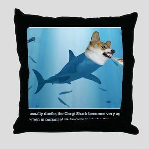 The Corgi Shark and the Bacon Fish Throw Pillow