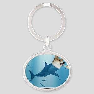 The Corgi Shark and the Bacon Fish Oval Keychain