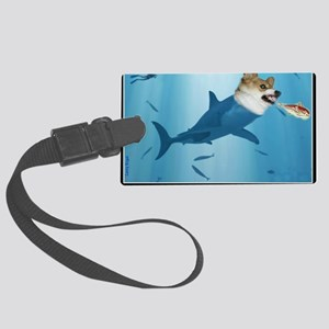The Corgi Shark and the Bacon Fi Large Luggage Tag