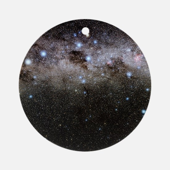 Crux and the southern celestial pol Round Ornament