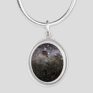 Crux and the southern celesti Silver Oval Necklace