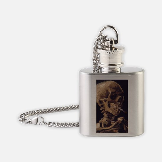 Van Gogh Skull with a Burning Cigar Flask Necklace