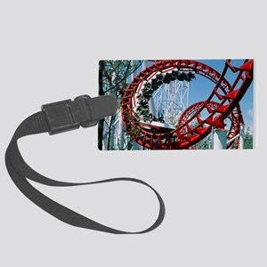 Corkscrew coil on a rollercoaste Large Luggage Tag