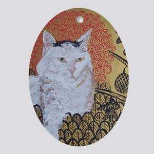 5x7 Klimt Cat Oval Ornament