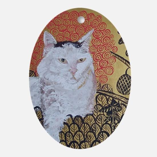 5x7 Klimt Cat Oval Ornament