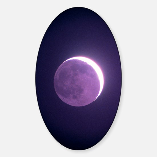 Crescent moon, showing earthshine Sticker (Oval)