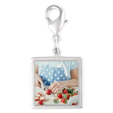 Cutting strawberries Silver Square Charm