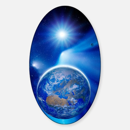 Earth in a comet's tail Sticker (Oval)