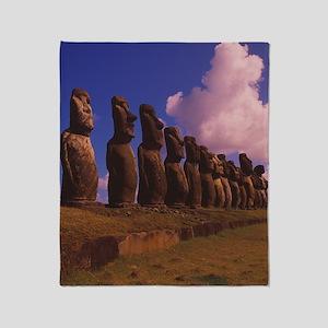 Easter Island statues Throw Blanket