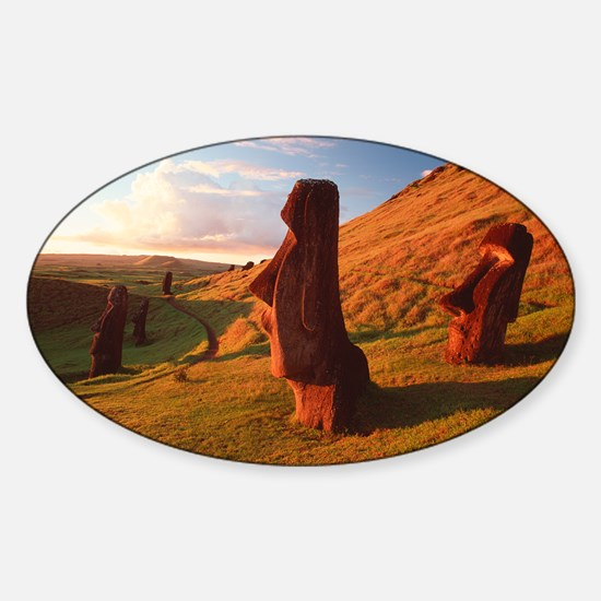 Easter Island statues Sticker (Oval)
