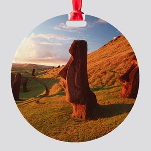 Easter Island statues Round Ornament