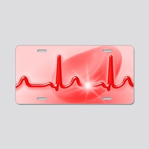 ECG and red blood cell Aluminum License Plate
