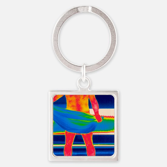 Drying off, thermogram Square Keychain