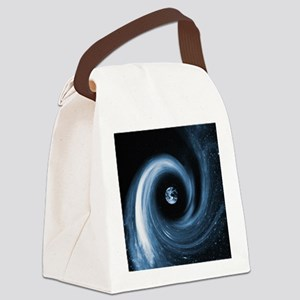 Earth in a black hole, artwork Canvas Lunch Bag