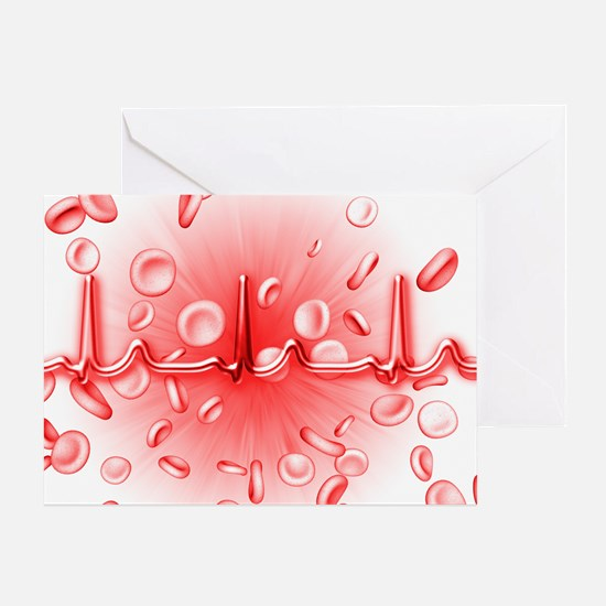 ECG and red blood cells Greeting Card