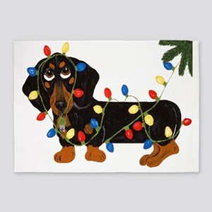 Dachshund (Blk/Tan) Tangled In Christmas Lights 5'