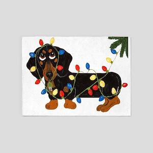 Dachshund (Blk/Tan) Tangled In Christmas Lights 5'