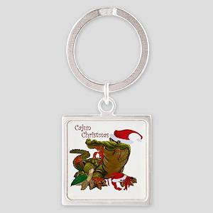 Cajun Christmas Square Keychain