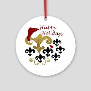 Santa Fleur de lis party Round Ornament