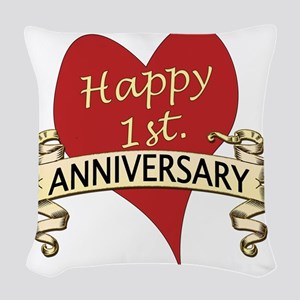 1st. anniversary Woven Throw Pillow