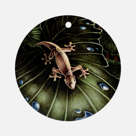 Thirsty Hawaiian Gecko Round Ornament
