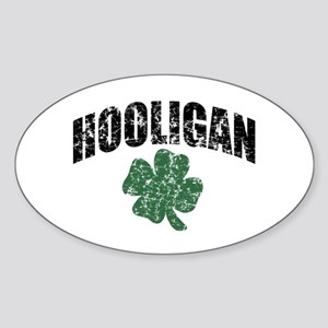 Hooligan Distressed Oval Sticker