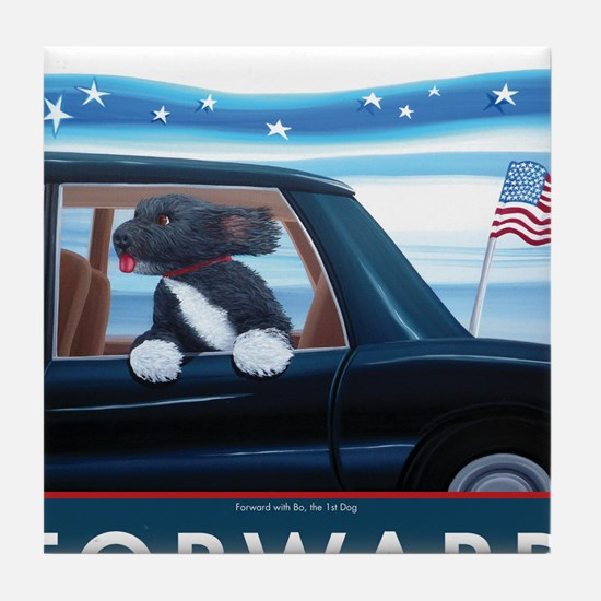 Forward with Bo, the 1st Dog Tile Coaster