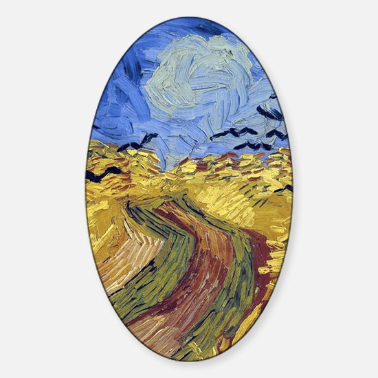 Wheatfield with Crows Sticker (Oval)
