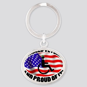 Proud Disabled Veteran Oval Keychain
