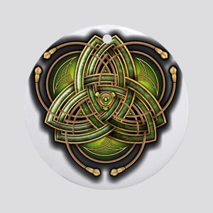 Green Celtic Triquetra Round Ornament