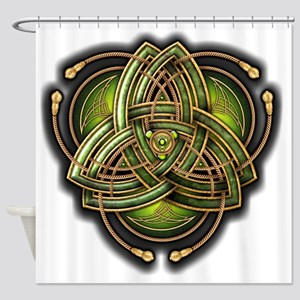 Green Celtic Triquetra Shower Curtain