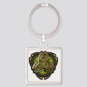 Green Celtic Triquetra Square Keychain