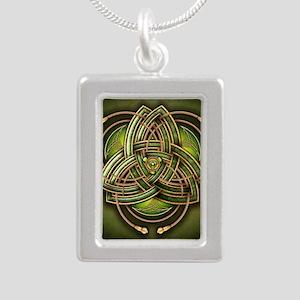 Green Celtic Triquetra Silver Portrait Necklace