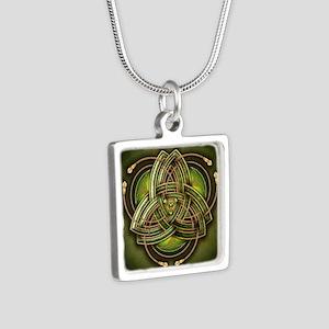 Green Celtic Triquetra Silver Square Necklace