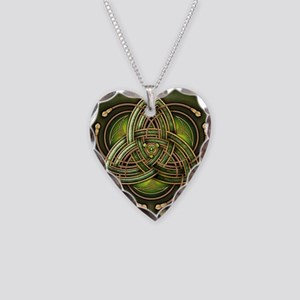 Green Celtic Triquetra Necklace Heart Charm